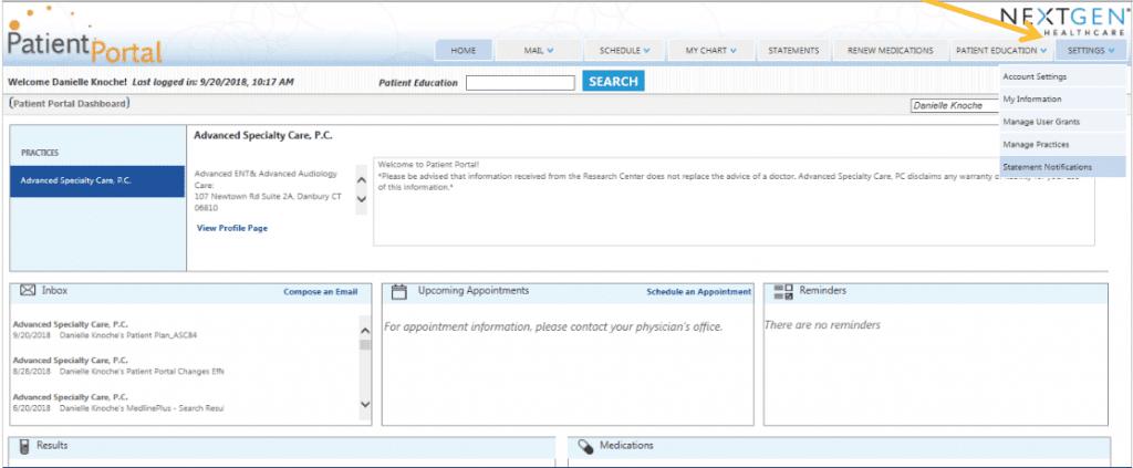 Patient Portal Billing- Step 1